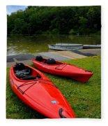 Two Red Kayaks Fleece Blanket