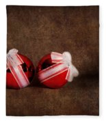 Two Red Ornaments Fleece Blanket