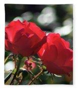 Two Red Roses Fleece Blanket