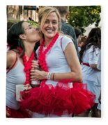 Two Red Tutus At Running Of The Bulls Fleece Blanket