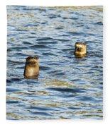 Two River Otters Fleece Blanket