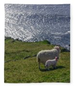 Two Sheep On The Cliffs At Sleive League - Donegal Ireland Fleece Blanket