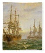 Two Ships Passing At Sunset Fleece Blanket