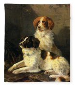 Two Spaniels Waiting For The Hunt Fleece Blanket