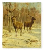 Two Stags In A Clearing In Winter Fleece Blanket