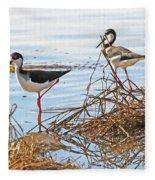 Two Stilts At The Pond Fleece Blanket