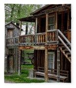 Two Story Outhouse - Nevada City Montana Fleece Blanket