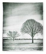 Two Trees In A Field Fleece Blanket