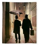 Two Victorian Men Wearing Top Hats In The Old Alley Fleece Blanket