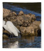 Two White Herons And A Coot Fleece Blanket