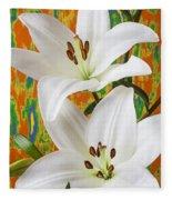 Two White Lilies Fleece Blanket