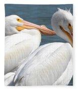 Two White Pelicans Fleece Blanket