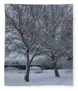 Two Winter Trees Fleece Blanket