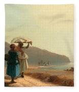 Two Women Chatting By The Sea. St Thomas Fleece Blanket