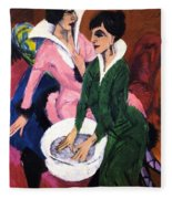 Two Women With A Washbasin Fleece Blanket