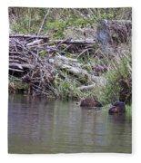 Two Working Beavers Fleece Blanket