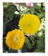 Two Yellow Flowers Fleece Blanket