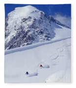 Two Young Men Skiing Untracked Powder Fleece Blanket