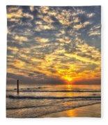 Calm Seas And A Tybee Island Sunrise Fleece Blanket