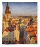 Tyn Church Old Town Square Fleece Blanket
