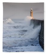 Tynemouth North Pier With Waves Fleece Blanket