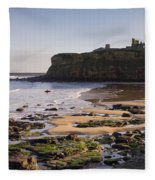 Tynemouth Priory And Castle Across King Edwards Bay Fleece Blanket