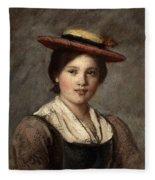 Tyrolean Dirndl With Straw Hat Fleece Blanket