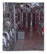 U S S Bowfin Submarine Engine Room Fleece Blanket
