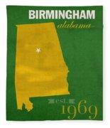 Uab University Of Alabama At Birmingham Blazers College Town State Map Poster Series No 009  Fleece Blanket