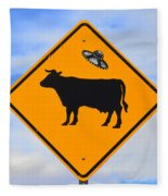 Ufo Cattle Crossing Sign In New Mexico Fleece Blanket