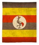Uganda Flag Vintage Distressed Finish Fleece Blanket