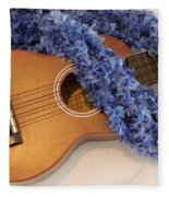 Ukulele And Blue Ribbon Lei Fleece Blanket