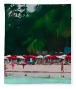 Umbrella Beach Fleece Blanket