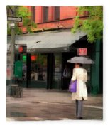The Purple Bag - New York City In The Rain Fleece Blanket