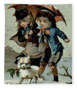 Umbrella In The Snow, Victorian Postcard Fleece Blanket
