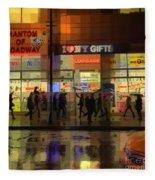 Umbrella Parade - New York In The Rain Fleece Blanket
