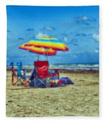 Umbrellas At The Beach Fleece Blanket