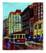 Umbrellas In The Rain Couples Stroll St.catherine Street Downtown Montreal Vintage  City Scene  Fleece Blanket