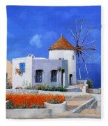 un mulino in Grecia Fleece Blanket