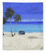Una Barca Blu Fleece Blanket