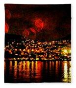 Corinth Under A Milti Moon Sky Fleece Blanket