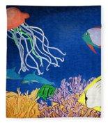 Under The Sea Mural 1 Fleece Blanket