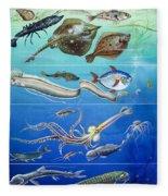 Underwater Creatures Montage Fleece Blanket