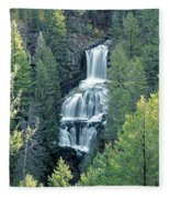 109008-undine Falls In Yellowstone Fleece Blanket