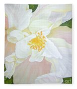 Unfurling White Hibiscus Fleece Blanket