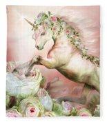Unicorn And A Rose Fleece Blanket