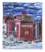 Union Pacific Train Car Painting Fleece Blanket