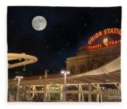 Union Station Denver Under A Full Moon Fleece Blanket