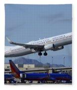 United Boeing 737-924 N75436 Continental Retro Taking Off Phoenix Sky Harbor March 6 2015 Fleece Blanket