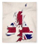 United Kingdom Map Art With Flag Design Fleece Blanket